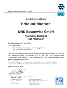 MNK-Bauservice GmbH Qualifikation